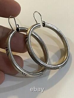 Vintage Large Sterling Silver Native Hoop Earrings