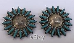 Vintage Large Zuni Needlepoint Turquoise Sterling Silver Clip Flower Earrings