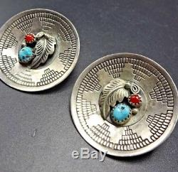 Vintage NAVAJO Hand-Stamped Sterling CORAL and TURQUOISE EARRINGS Wedding Basket