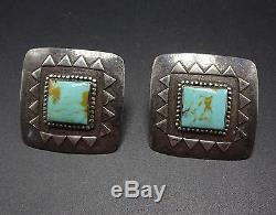Vintage NAVAJO Hand Stamped Sterling Silver & TURQUOISE Square EARRINGS Pierced