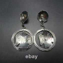 Vintage NAVAJO Hand-Stamped Sterling Silver TURQUOISE Thunderbird EARRINGS