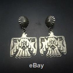 Vintage NAVAJO Heavy Gauge Hand-Stamped Sterling Silver THUNDERBIRD EARRINGS