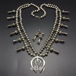 Vintage NAVAJO Stamped Cast Sterling Silver SQUASH BLOSSOM Necklace Earrings SET