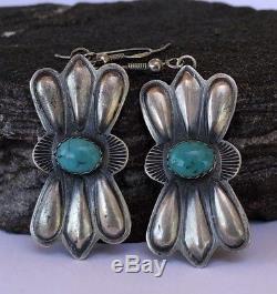 Vintage NAVAJO Sterling Silver Kingman Turquoise Squash Blossom Dangle Earrings