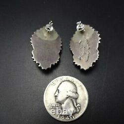 Vintage NAVAJO Sterling Silver OLD RED MEDITERRANEAN CORAL Pierced EARRINGS