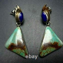 Vintage NAVAJO Sterling Silver ROYSTON TURQUOISE and BLUE LAPIS EARRINGS Pierced