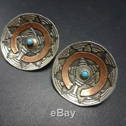 Vintage NAVAJO Sterling Silver and Copper TURQUOISE EARRINGS Wedding Basket