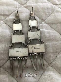 Vintage Native American Indian Navajo Sterling Spiny Oyster 31/2 inch Earrings