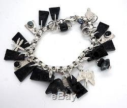 Vintage Native American Mexican Jewelry LOT Sterling Charm Bracelet Earrings