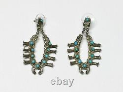 Vintage Native American Navajo Turquoise Squash Blossom Earrings, Signed MR