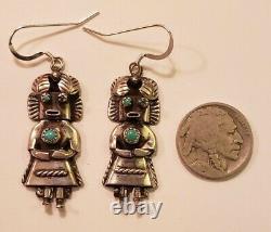 Vintage Native American Sterling Silver Kachina Earrings Signed OM