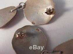 Vintage Native American Sterling Silver & Spiny Oyster Earrings 925