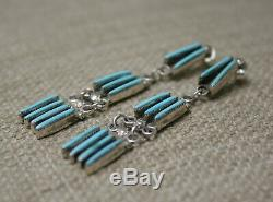 Vintage Native American Zuni Turquoise Sterling Silver Earrings