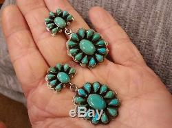 Vintage Navajo Carico Lake Turquoise Sterling Silver Cluster Earrings