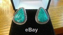 Vintage Navajo High Grade Stormy Mountain Turquoise Sterling Silver Earrings
