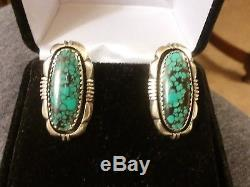 Vintage Navajo Indian Mountain Turquoise Sterling Silver Clip Earrings