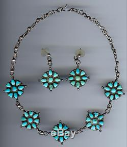 Vintage Navajo Indian Silver Turquoise Flowers & Hearts Necklace & Earrings Set