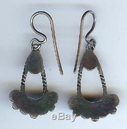 Vintage Navajo Indian Silver Turquoise Pierced Dangle Earrings