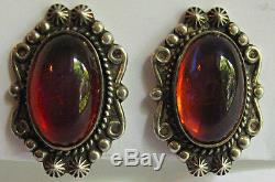 Vintage Navajo Indian Sterling Silver Dragons Breath Screwback Earrings