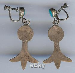 Vintage Navajo Indian Sterling Turquoise Dangle Squash Blossom Earrings