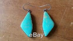 Vintage Navajo Native American Turquoise Earrings Sterling Silver Large Stone