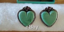Vintage Navajo Nez Native American Sterling Silver Turquoise Heart Earrings 23gm