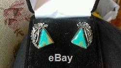 Vintage Navajo Number 8 Turquoise Sterling Silver Flower Earrings P. Johnson