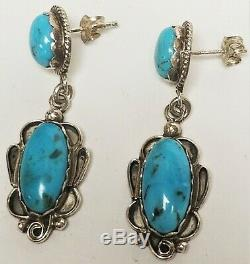 Vintage Navajo Old Pawn Turquoise Sterling Silver Pierced Dangle Earrings 1.5
