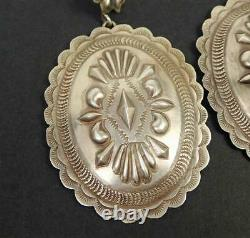Vintage Navajo Old Style Stamped Sterling Silver Large Oval Concho Earrings