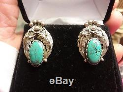 Vintage Navajo Stenich Turquoise Flower Blossom Sterling Silver Earrings