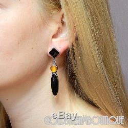 Vintage Navajo Sterling Silver Black Onyx Amber Dangle Long Post Modern Earrings