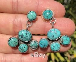 Vintage Navajo Sterling Silver Spiderweb Number #8 Turquoise Dangle Earrings