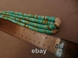 Vintage Navajo Turquoise Heishi Heshi Jacla Earrings Pendant, 6 1/2 Long