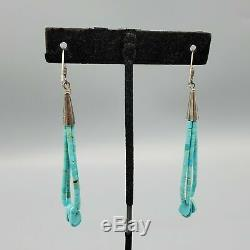 Vintage Navajo Turquoise Heshi Jacla Bead Loop Sterling Silver Hook Earrings