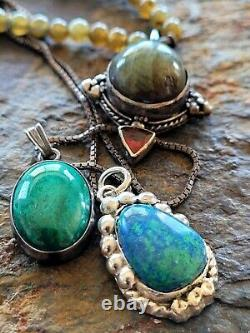 Vintage Navajo Turquoise Jewelry Lot Pendant Necklace Sterling Southwest lot 12