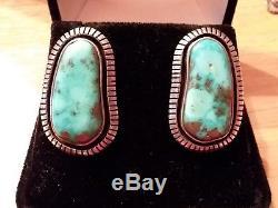 Vintage Navajo Waterweb Morenci Turquoise Sterling Silver Earrings