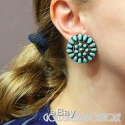 Vintage Navajo Zuni Sterling Silver Turquoise Petit Point Round Cluster Earrings