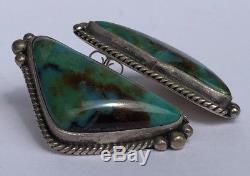 Vintage Old Navajo Gem Grade Bisbee Turquoise Sterling Silver Long Post Earrings