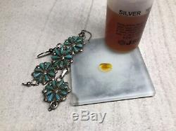 Vintage Old Zuni Sterling Silver Turquoise Petit Point Cluster Drop Earrings