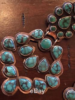 Vintage Oscar Betz Turquoise Sterling Chandelier Earrings