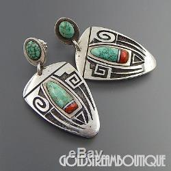 Vintage Rare Tim Yazzie Navajo Sterling Silver Overlay Turquoise Coral Earrings
