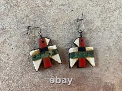 Vintage Santo Domingo Kewa THUNDERBIRD Earrings Fred Harvey Depression Era