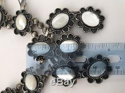 Vintage Silver Navajo Mother of Pearl Squash Blossom Necklace & Earrings Set