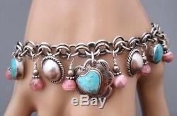 Vintage Southwestern. 925 Turquoise Charm Bracelet Carolyn Pollack Earrings
