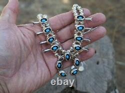 Vintage Squash Blossom Necklace Earrings Set Turquoise Signed Navajo Jewelry