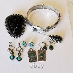Vintage Sterling 3 Navajo Turquoise Earrings Carved Onyx Brooch Navajo Necklace