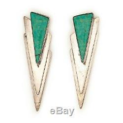 Vintage Sterling 925 Silver Native Navajo Cripple Creek Turquoise HUGE Earrings