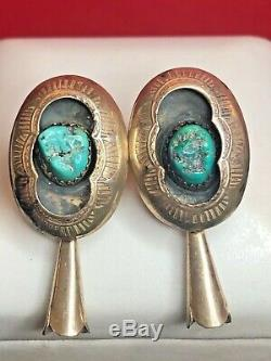 Vintage Sterling Old Pawn Native American Earrings Squash Blossom Turquoise