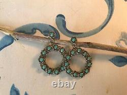 Vintage Sterling Petit Point Turquoise Earrings Estate Find