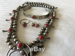 Vintage Sterling Silver & Coral Cuff Squash Blossom Necklace Earrings Ring Set